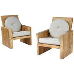 Pair of Modernist Pine Armchairs by Uno Liljeqvist