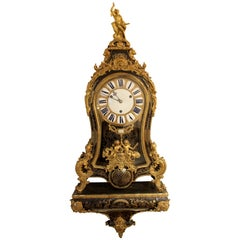 1720s French Régence Ormolu, Brass-Inlaid, Tortoiseshell Boulle Marquetry Clock