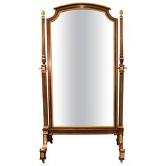 Louis XVI Style Gilt Bronze Mounted Cheval Mirror