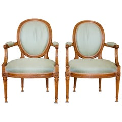 Pair of Louis XVI Style Beechwood Cabriolets Fauteuils with Oval Medallion Backs