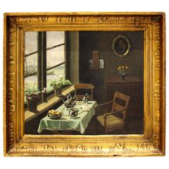 Painting Oil on Canvas Inside Drawing Room with Set Table, Signed Crigensm