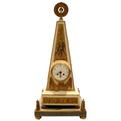Louis XVI Style 19th Century Ormolu-Mounted White Marble Obelisk Mantel Clock