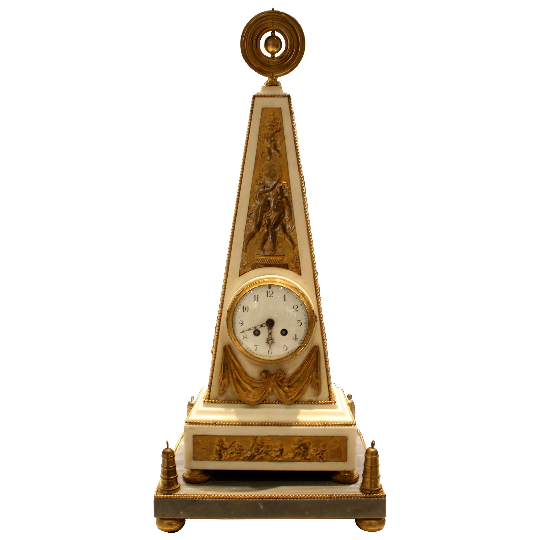 Louis XVI Style 19th Century Ormolu-Mounted White Marble Obelisk Mantel Clock