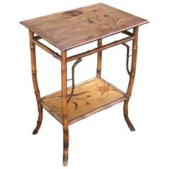 French Bamboo Table with Nancy Inlaid Top