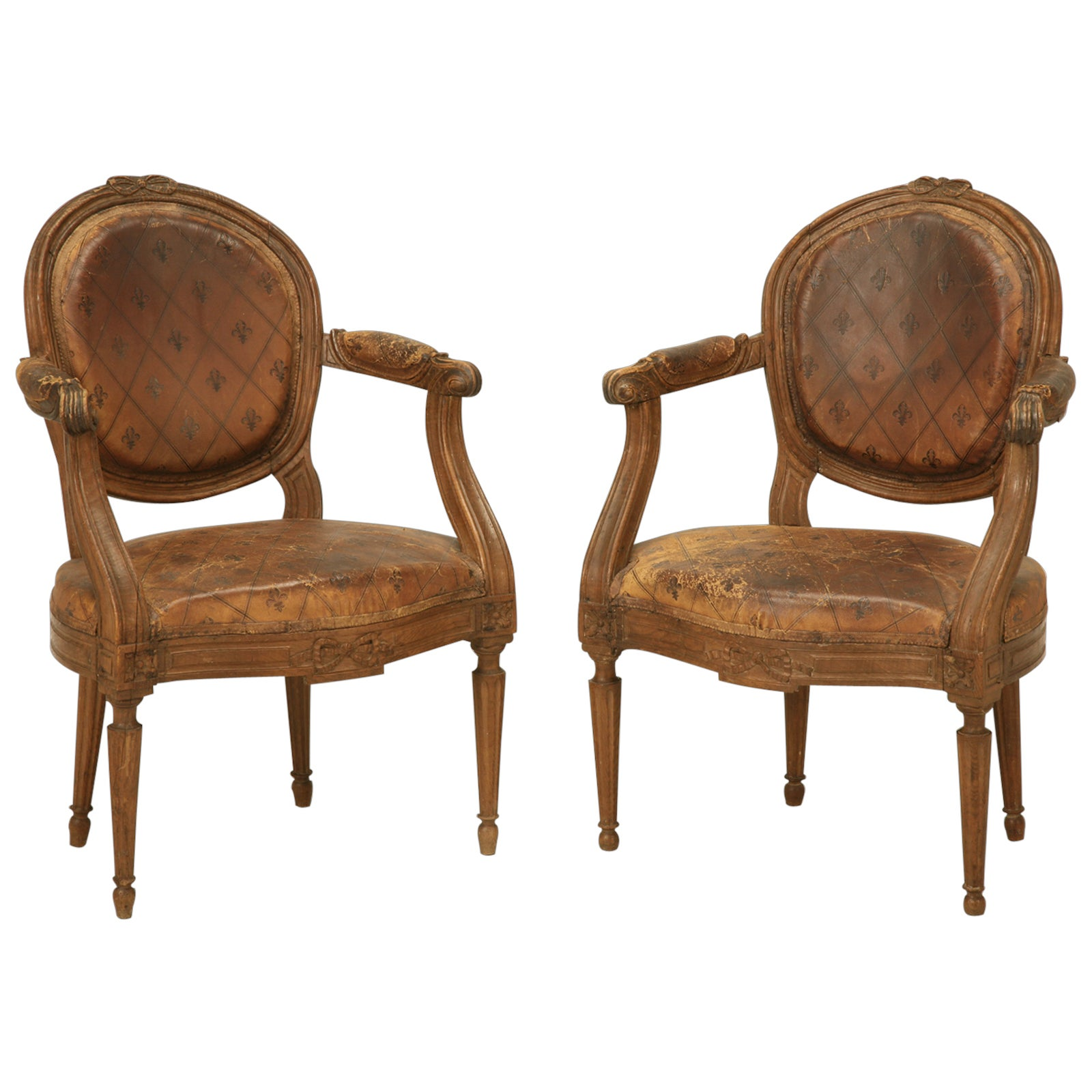 French Louis XVI Style Armchairs in Original Leather