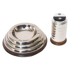 Pierre Cardin Art Deco Style Table Set of Lighter and Ash Tray, Silver Plate
