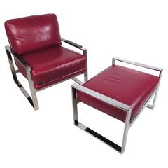 Vintage Modern Chrome and Leather Chair with Ottoman