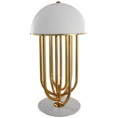 Turner Table Lamp in White and Gold