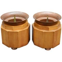 Pair of French Art Deco Copper and Fruitwood Candleholders