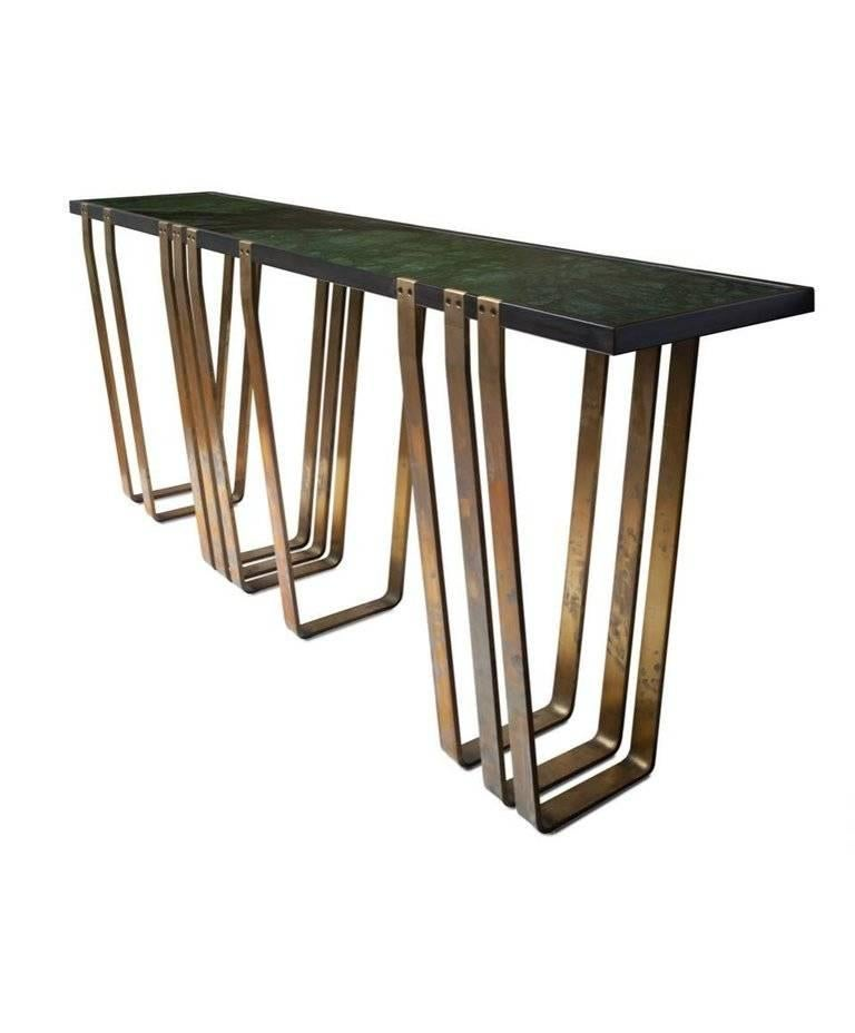 Handcrafted Console with Marble Top and Solid Brass Legs designed by Harry Clark For Sale 3