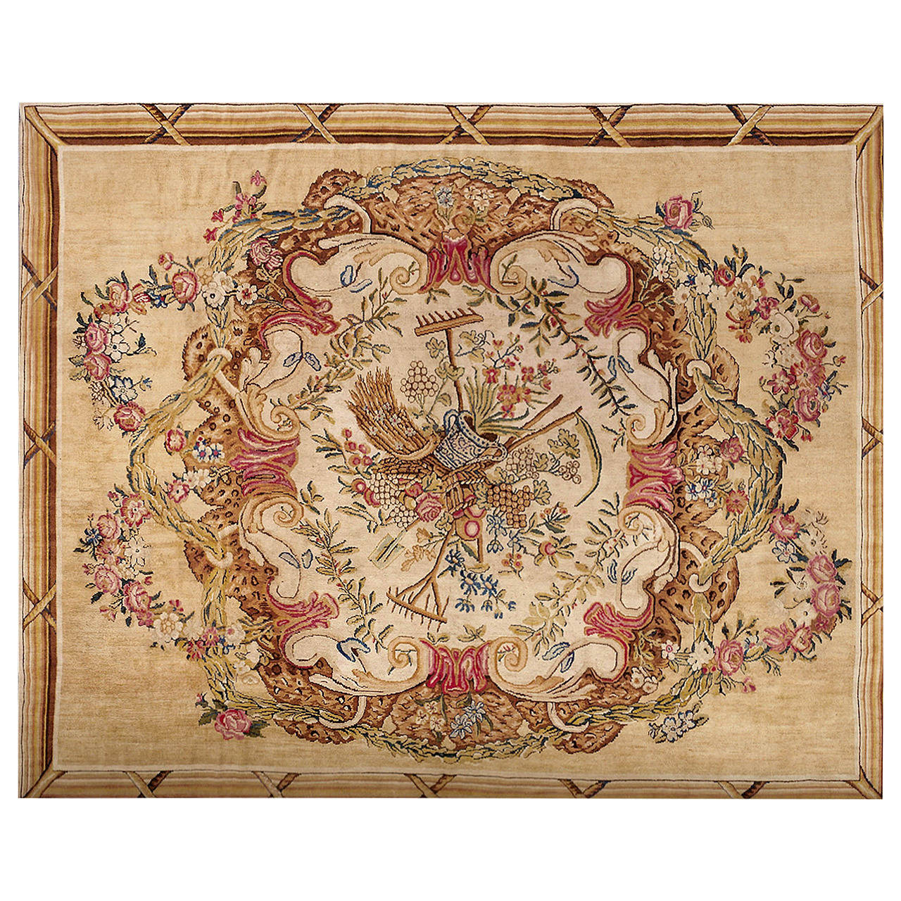 French Savonnerie Carpet, Manufactory Of Aubusson, 18th