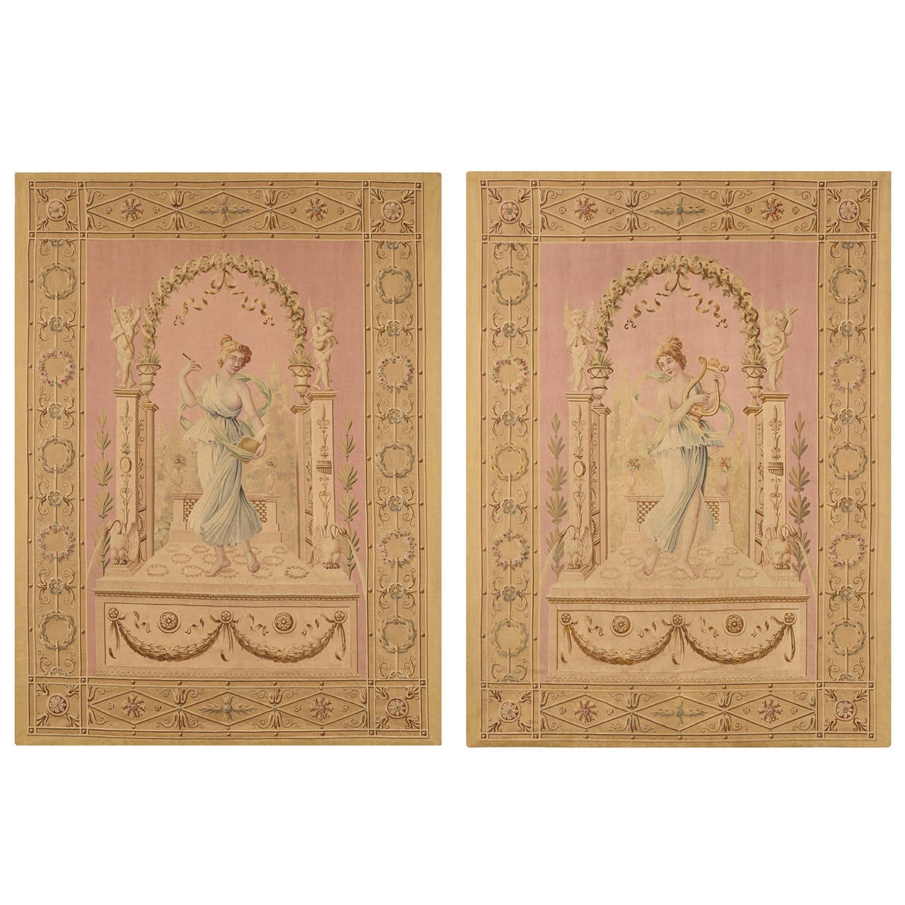 Beginning of the 19th Century, Pair of Tapestries from Aubusson Manufactory