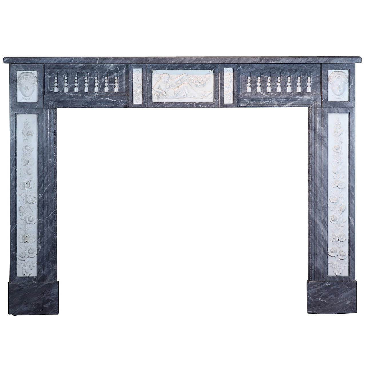 18th Century Original Antique Fireplace Mantel in Marble from Bruges