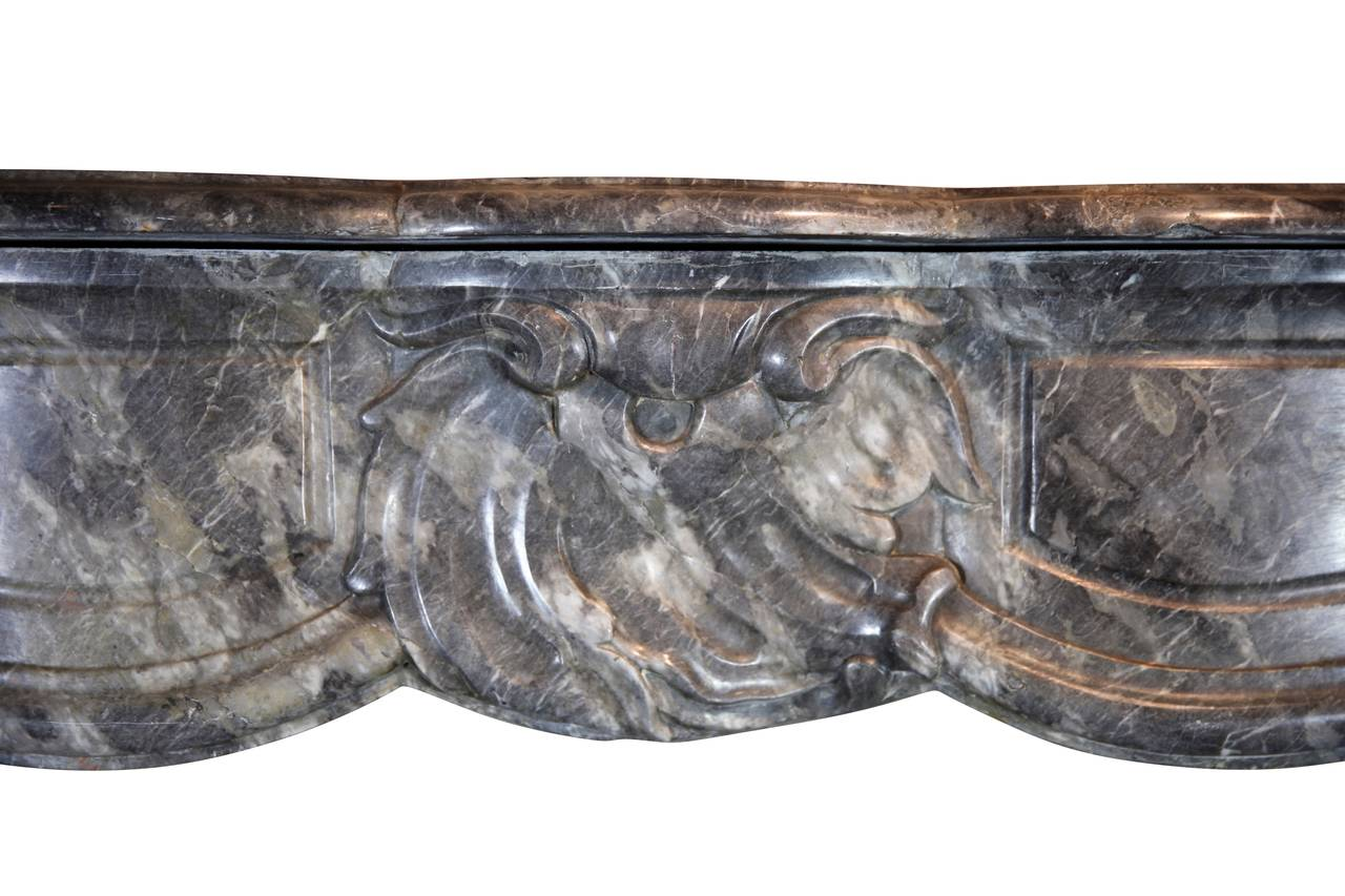 Dutch 18th Century Grey Marble Antique Fireplace Mantel, Regency Period For Sale