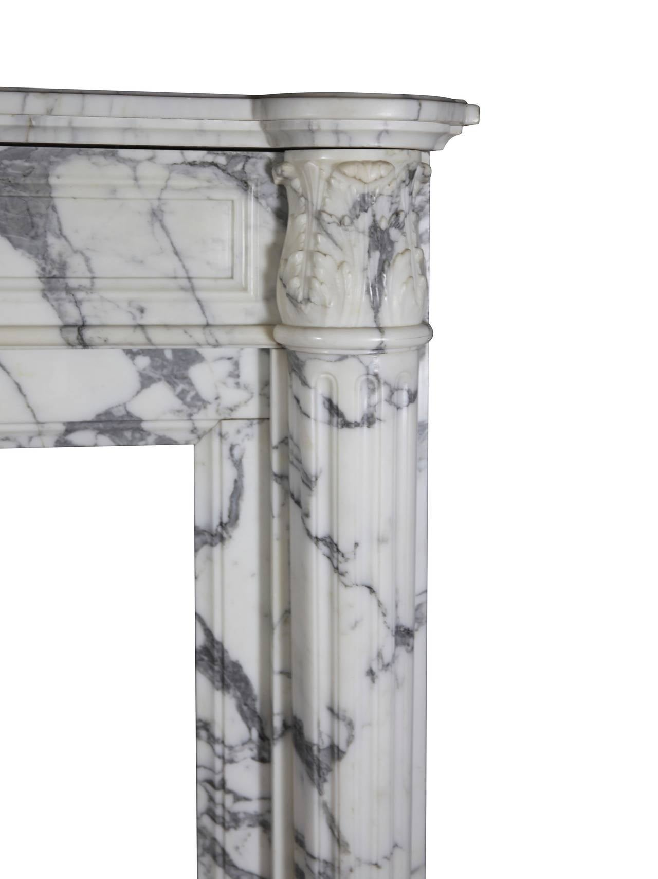 Carved 19th Century Carrara White Marble antique fireplace Mantel, Louis XVI Style For Sale