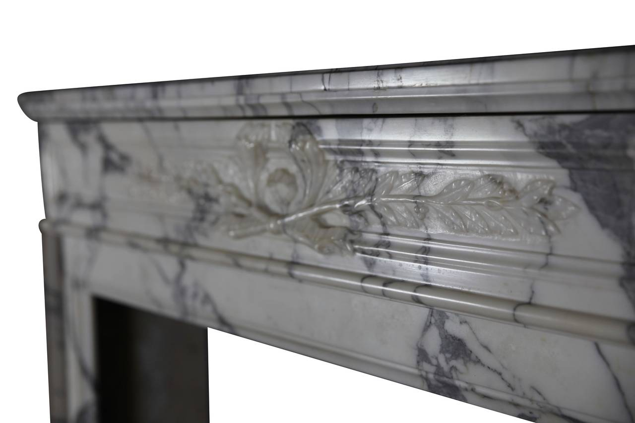 19th Century Carrara White Marble antique fireplace Mantel, Louis XVI Style In Excellent Condition For Sale In Beervelde, BE
