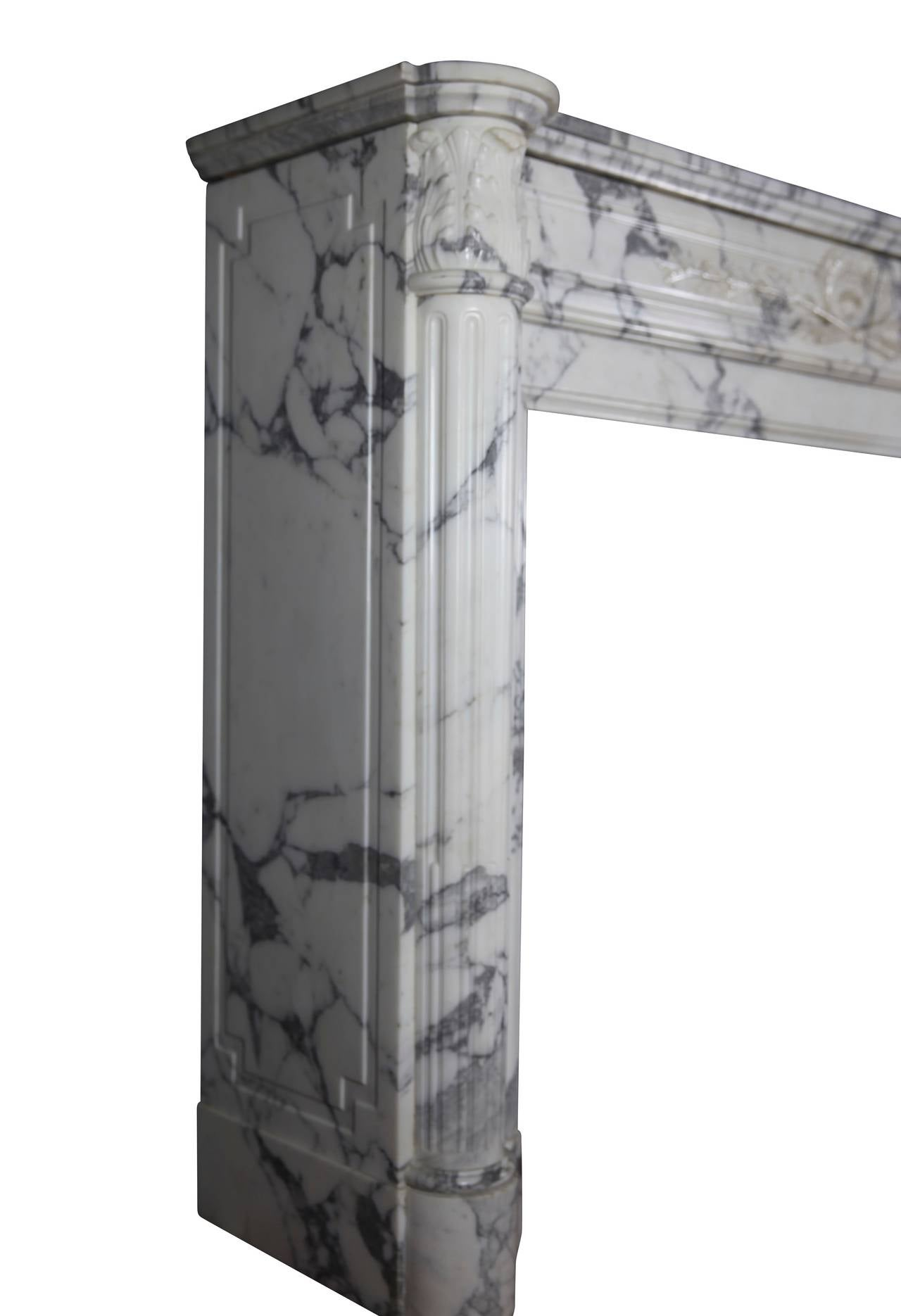 19th Century Carrara White Marble antique fireplace Mantel, Louis XVI Style For Sale 5