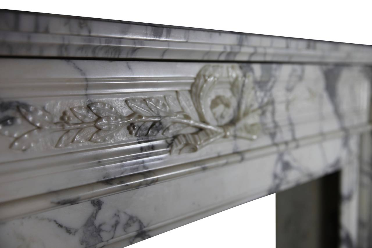 19th Century Carrara White Marble antique fireplace Mantel, Louis XVI Style For Sale 2