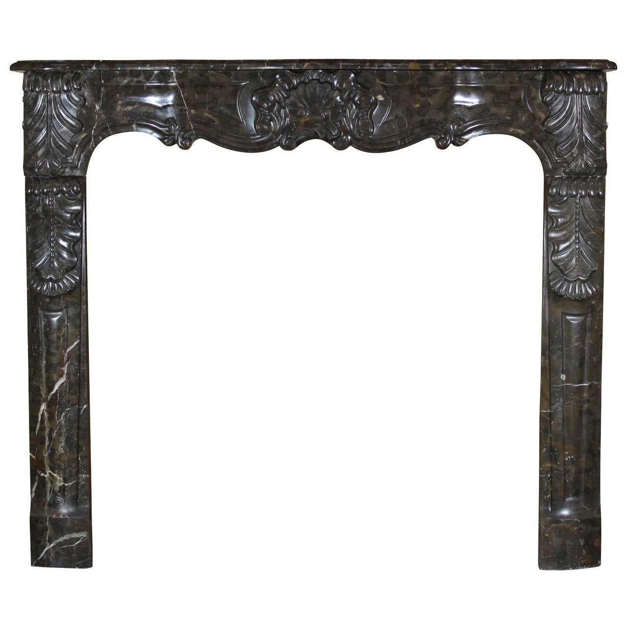 18th C. Marble antique fireplace Mantel from Regency Period, Arbalette Fronton