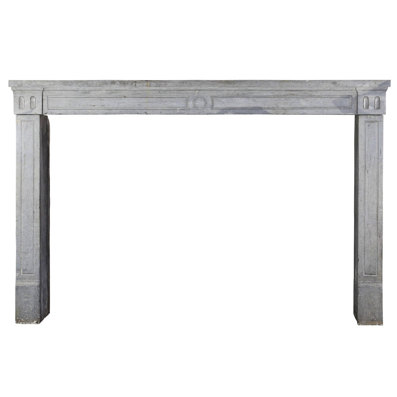 18th Century Period Blue-Grey French Marble-Stone Antique Fireplace mantel