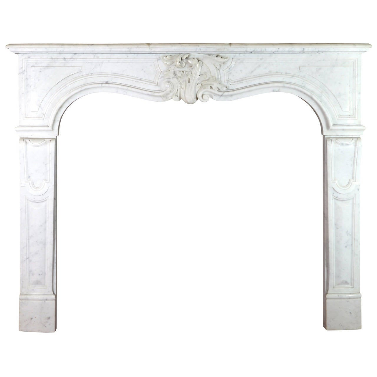 19th Century White Carrara Marble Antique Fireplace Mantel, Regency Style