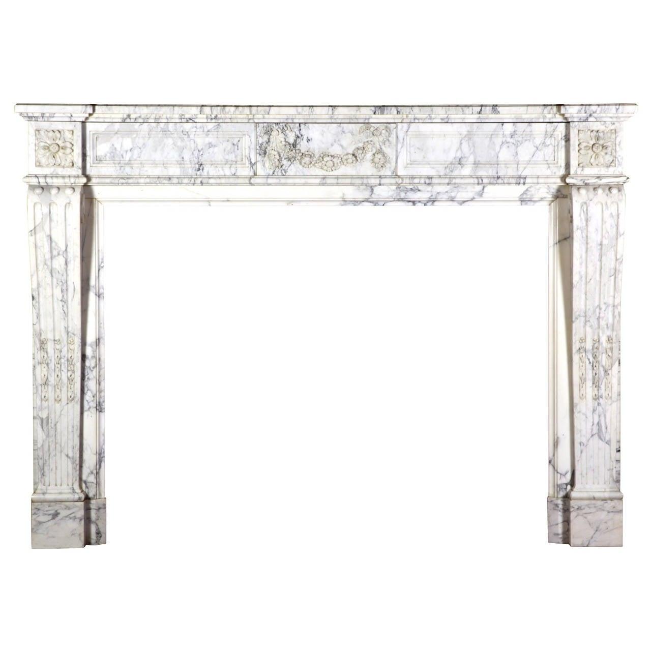 19th C. Blanc de Carrara Marble Antique Fireplace Mantel with Flower Garland