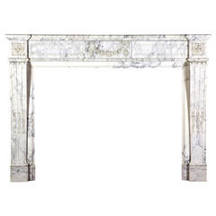 19th C. Blanc de Carrara Marble Antique Fireplace Mantel with Flower Garland