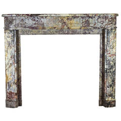 18th Century Royal French Saracolin antique fireplace Marble Mantel