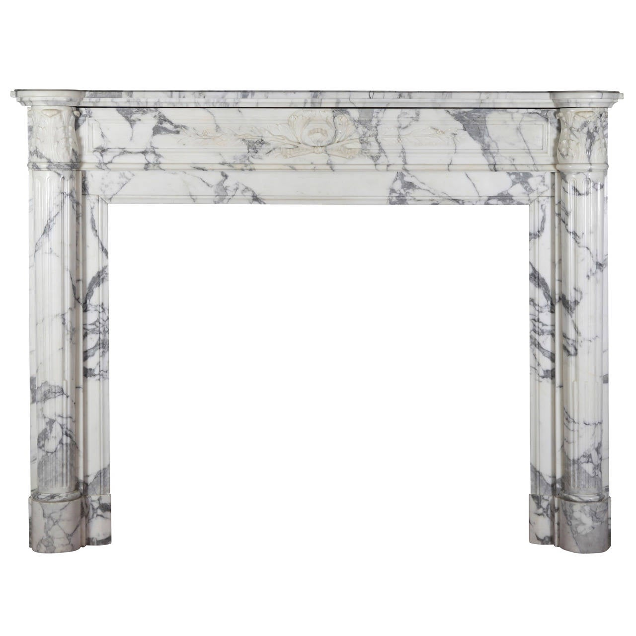 19th Century Carrara White Marble antique fireplace Mantel, Louis XVI Style For Sale