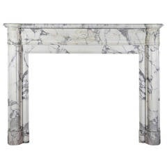 19th Century Carrara White Marble antique fireplace Mantel, Louis XVI Style