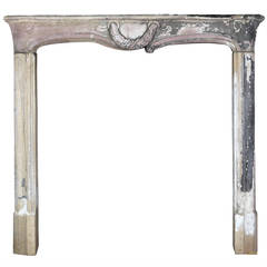 18th C. Country Grez Stone antique fireplace Mantel with Round Corners