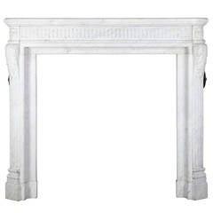 18th Century Petit Bijoux antique fireplace mantel in Carrara Marble.