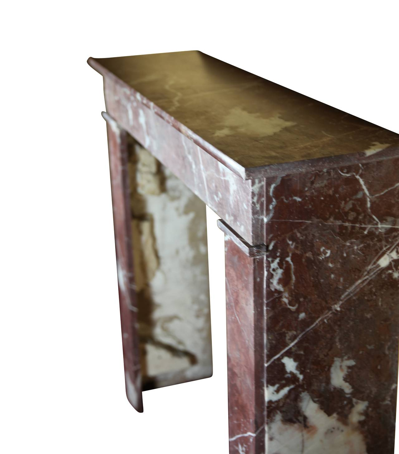 Polished 19th Century Belgian Marble antique fireplace Mantel For Sale