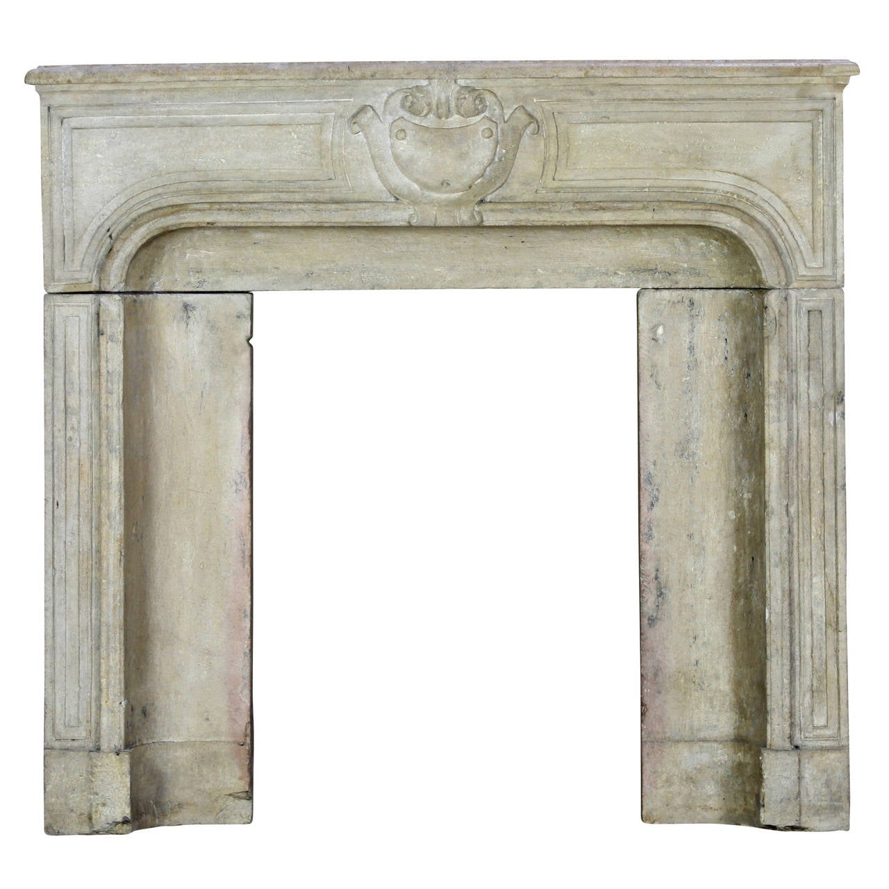 18th c limestone des vosges three solid block antique fireplace mantel 1 - Antique Fireplace Mantels