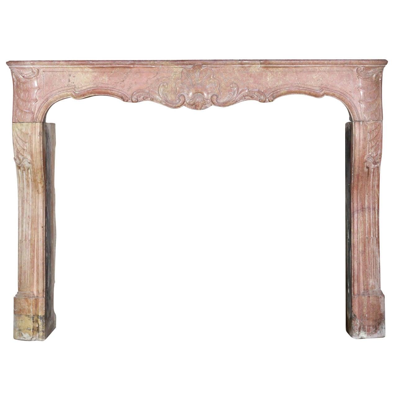 18th Century Impressive Burgundy Hard Stone antique Fireplace Mantel