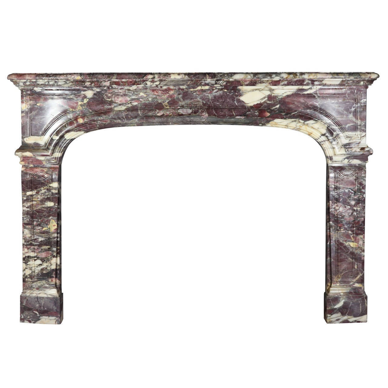 Antique fireplace mantels for sale - 18th Century Marble Antique Fireplace Mantel In Royal Breche Violet Marble 1