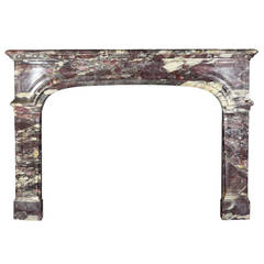 18th Century Marble antique fireplace Mantel in Royal Breche Violet Marble
