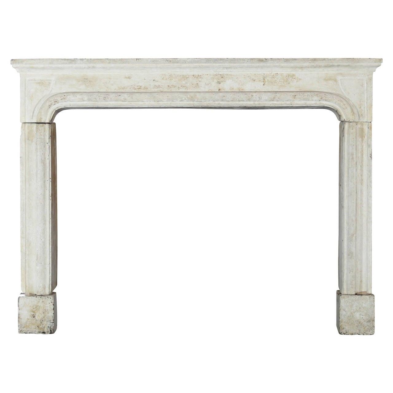 17th Century limestone antique fireplace mantel - Louis XIV period