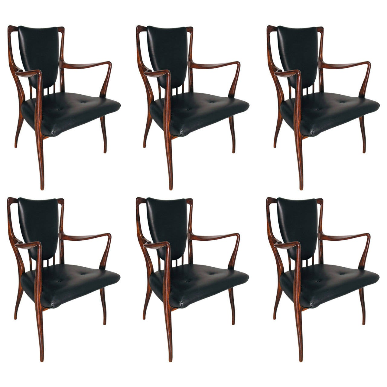 Six rosewood dining chairs by a j milne at 1stdibs - Rosewood dining room furniture ...