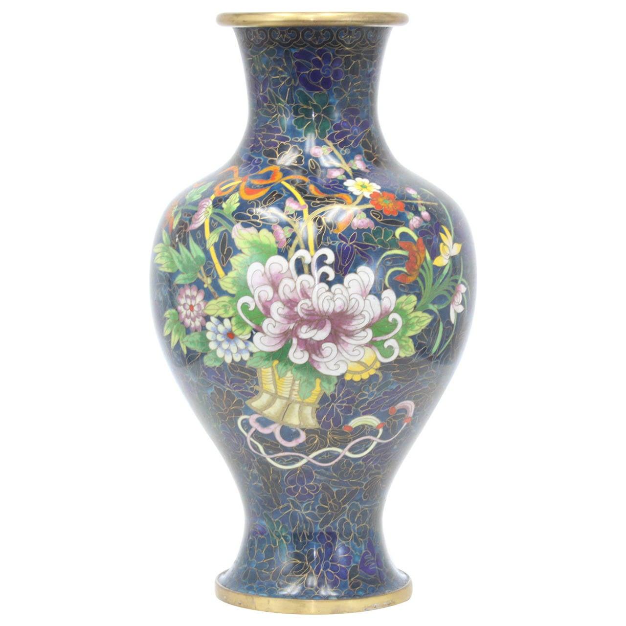 16 tall cloisonne vase in royal blue flower basket design at 1stdibs 16 tall cloisonne vase in royal blue flower basket design for sale reviewsmspy