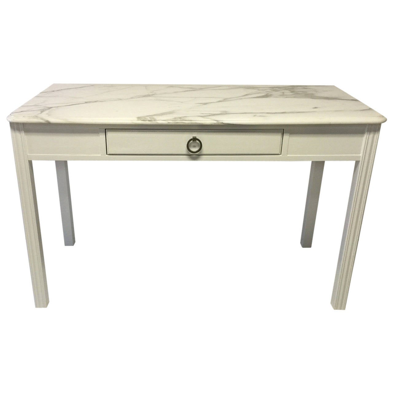 Drexel Lacquered Desk With Carrara Marble Top At 1stdibs