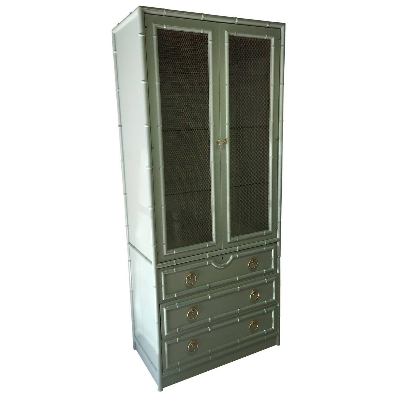 Faux bamboo lacquered vintage cabinet at 1stdibs for Bamboo kitchen cabinets for sale