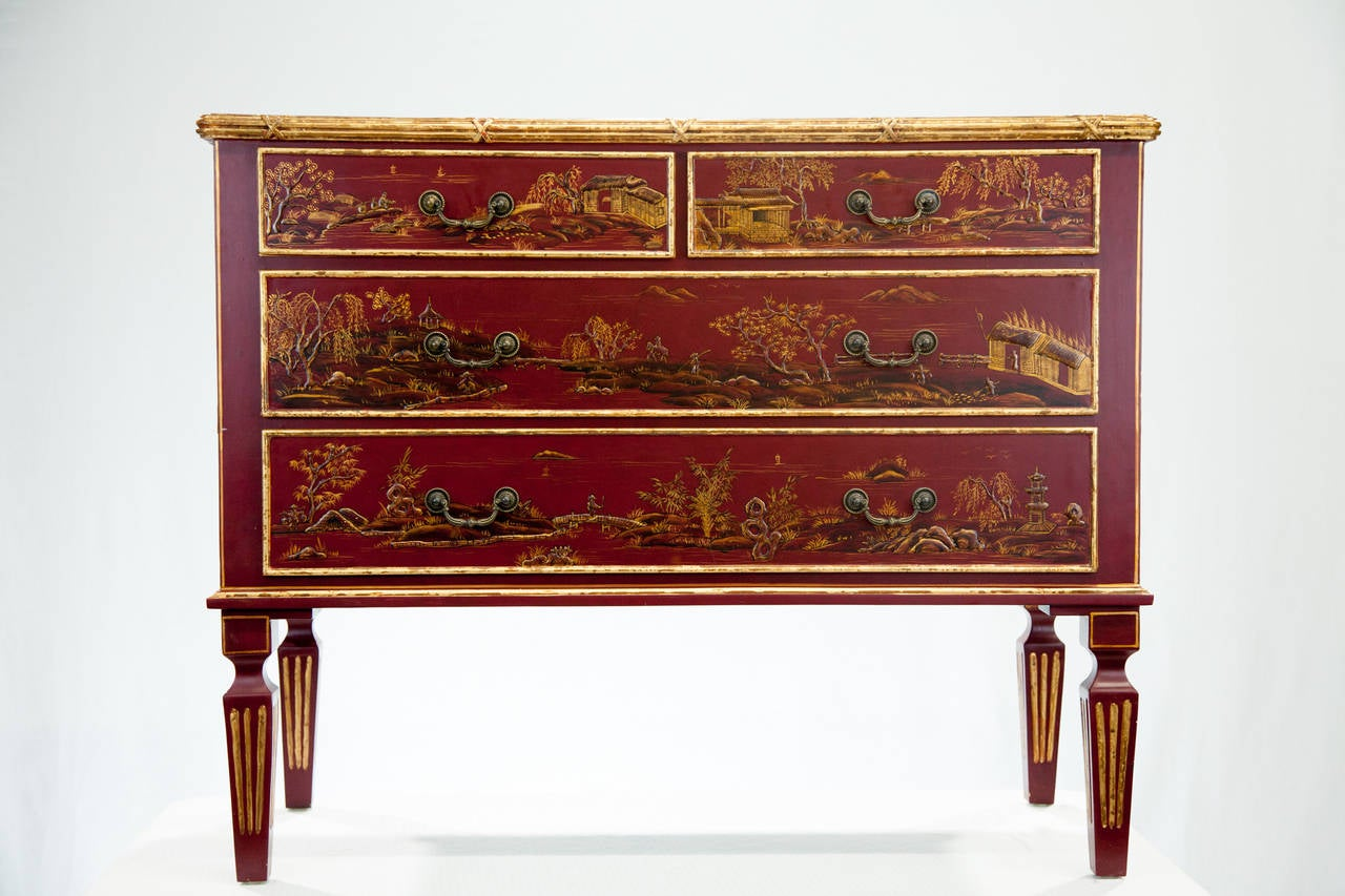 Red Chinoiserie Painted Chest Of Drawers At 1stdibs