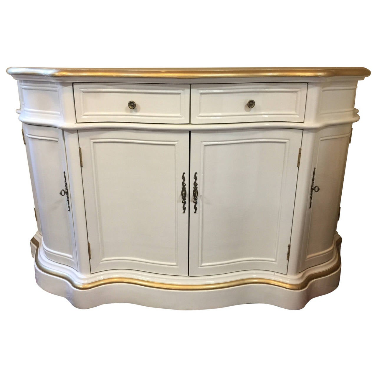 Curvy lacquered sideboard in cream and gold at 1stdibs for Sideboard gold