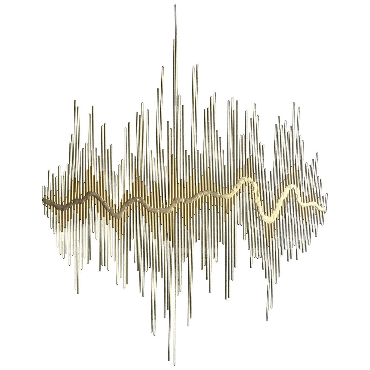 Sound waves metal wall sculpture at 1stdibs for Bronze wall art