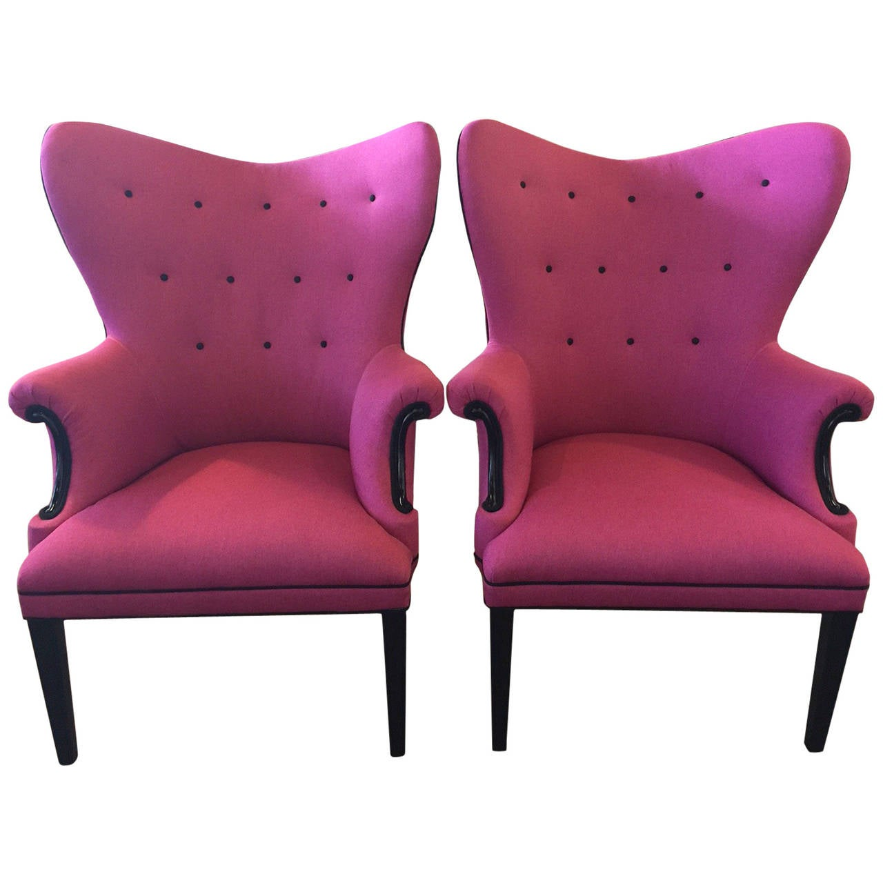 Wingback hot pink and black linen chairs only one for Black and pink furniture