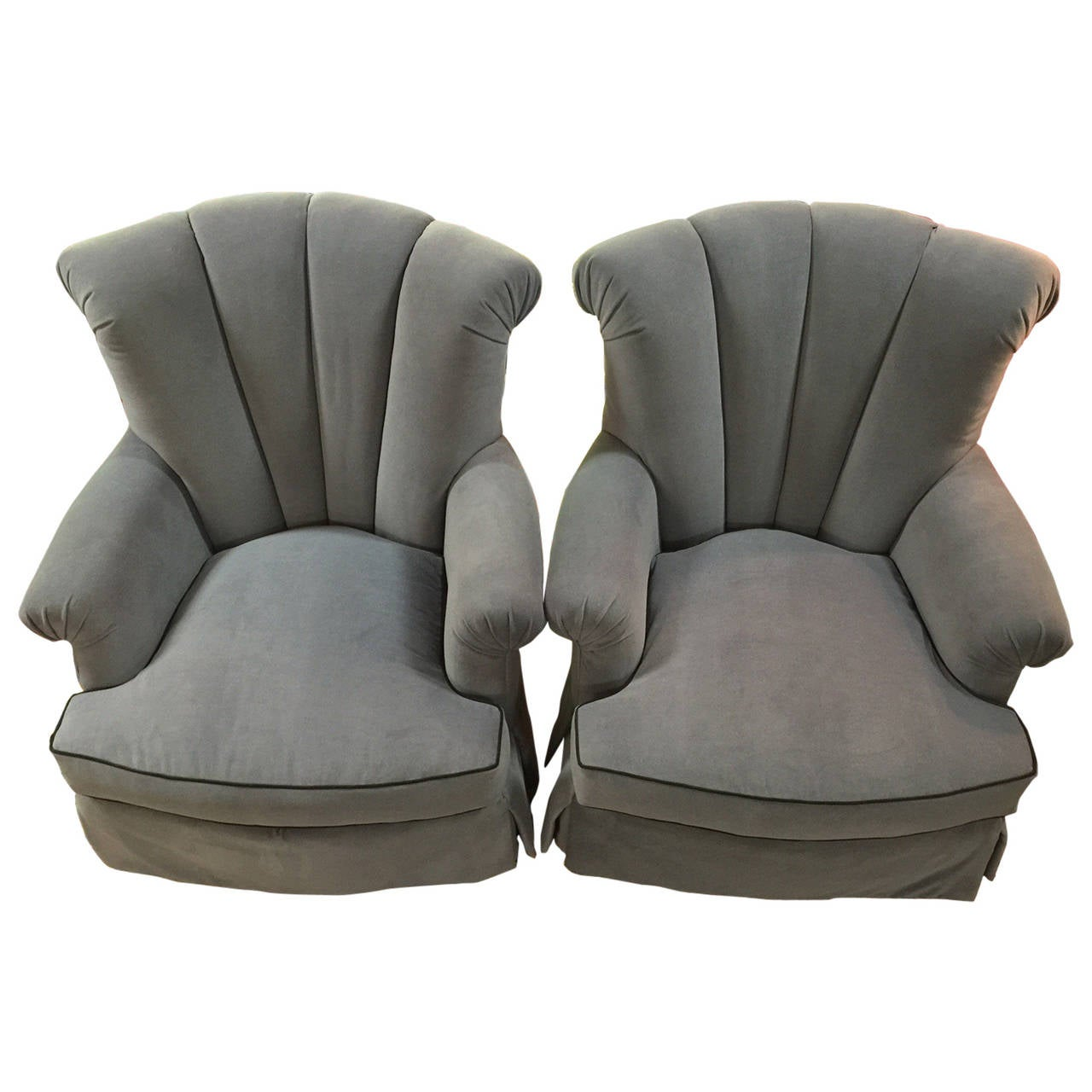 Marge carson overstuffed armchairs with swivel at 1stdibs for Overstuffed armchair