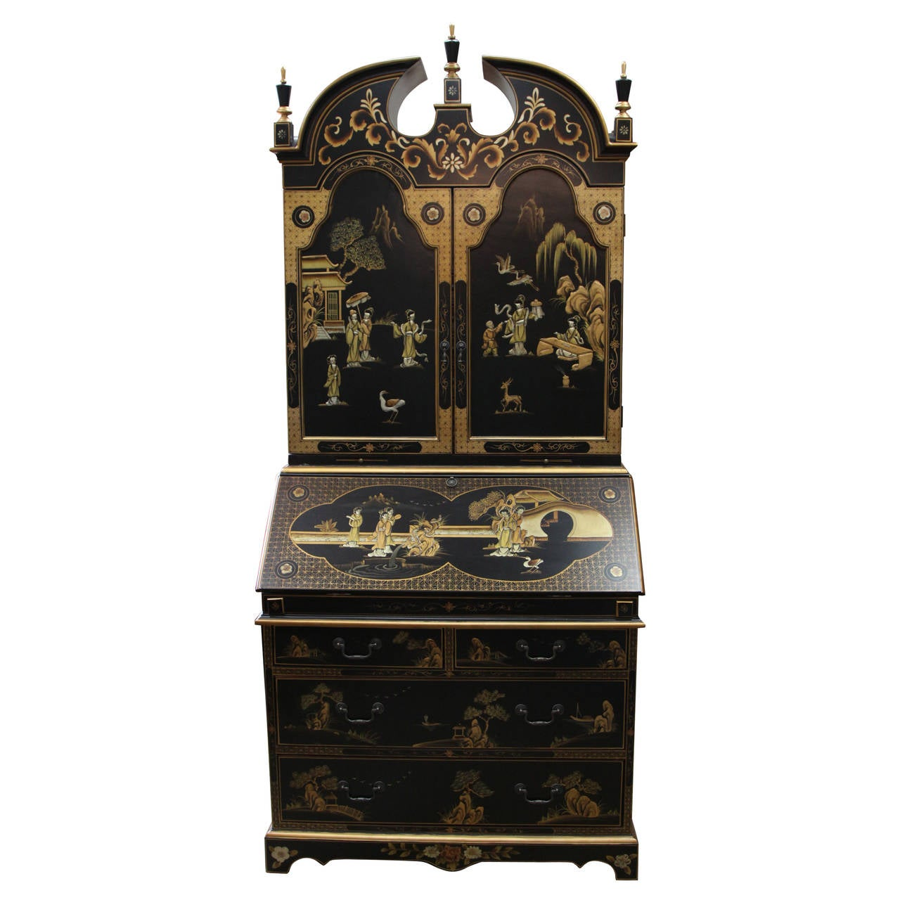 Maitland Smith Queen Anne Style Chinoiserie Secretary Desk For