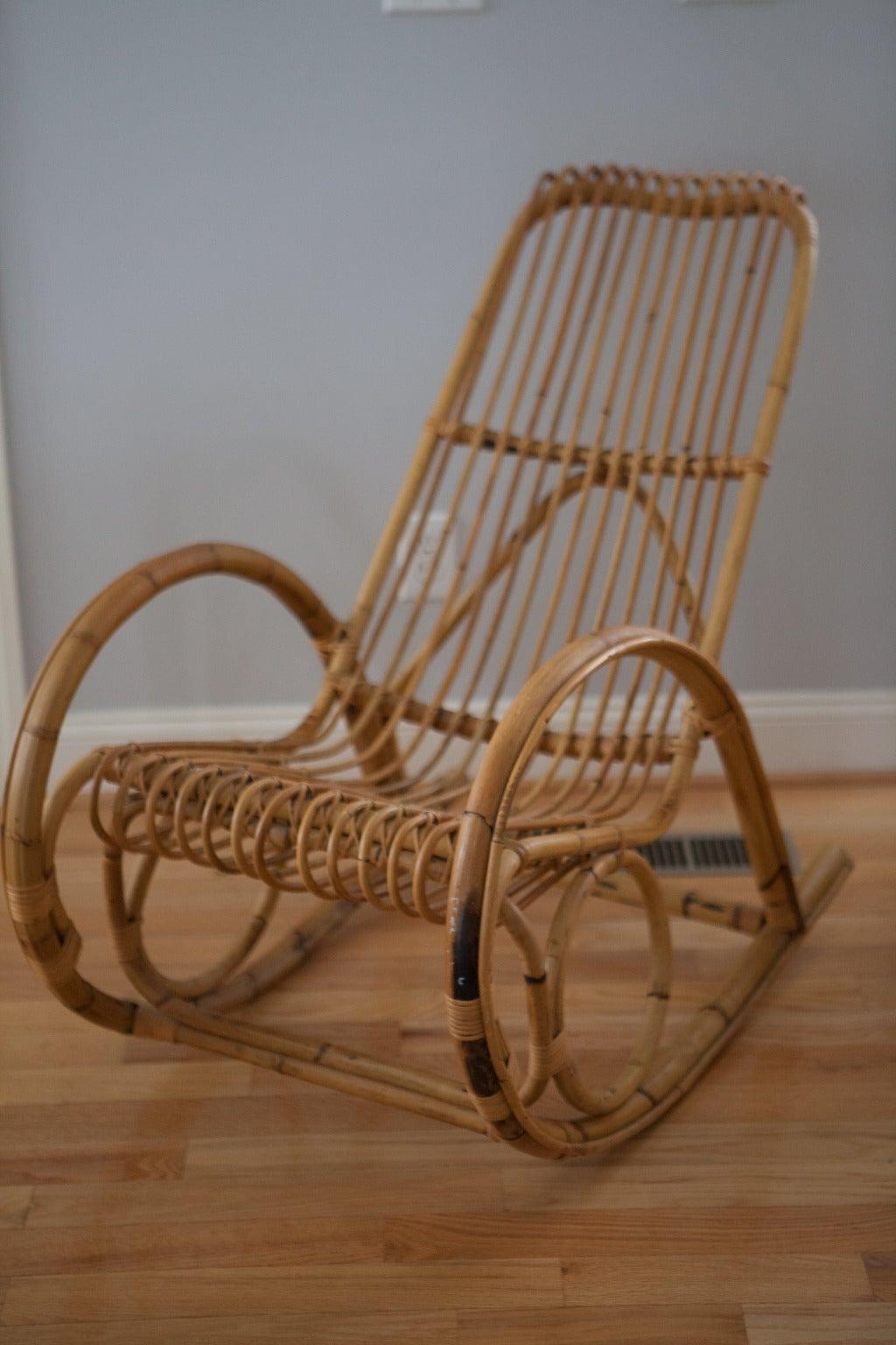 Vintage rattan rocking chair - Franco Albini Style Rattan Rocking Chair 2