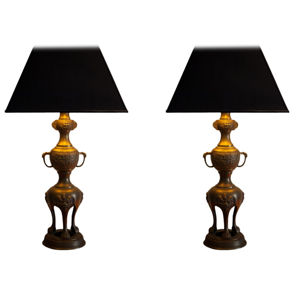 Pair of Foo Dog Lamps in the Manner of James Mont at 1stdibs